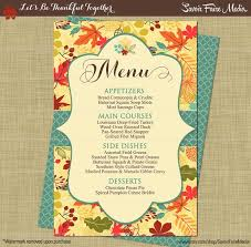 Autumn Dinner Menus Thanksgiving Dinner Party Menu Fall Autumn Dinner Party Etsy