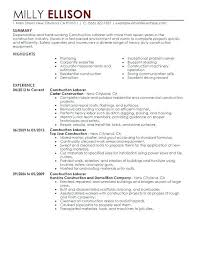 Construction Resume Cover Letter Mwb Online Co