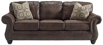 benchcraft by ashley breville faux leather sofa with rolled arms