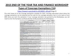 Types Of Coverage Exemptions Chart 2015 End Of The Year Tax And Finance Workshop Ppt Download