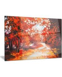 designart forest in the fall landscape metal wall art 28 in wide on red and brown metal wall art with amazing deal on designart forest in the fall landscape metal wall