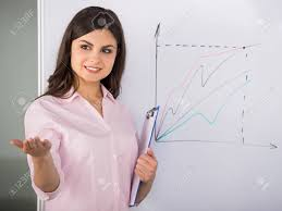 Young Attractive Woman Presenting Business Strategy On Flip Chart