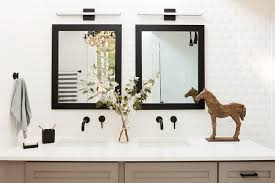 trinsic single handle wall mount bathroom faucet in the master bathroom