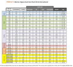 Men S Sock Size Chart Warrior Alpaca Sock Size Chart U S And International