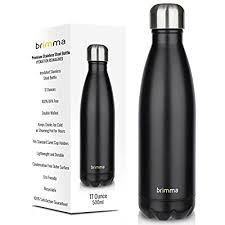 Brimma Vacuum Insulated Water Bottle - Double Wall Stainless Steel Travel  Bottle For Hot & Cold Drinks - No Sweat, Leak Proof, BPA Free Thermos Flask  - 17 ...