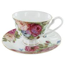 sandra's rose bone china  cup and saucer  set of