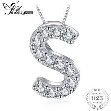 whole whole letter s initial 0 3ct cubic zirconia pendant necklace 100 925 sterling silver jewelry 45cm box chain necklace silver pendant necklaces