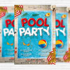 pool party flyer template blank. Wonderful Template Pool Party  Premium Flyer Template  Facebook Cover And Blank