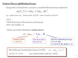 3 nuclear m and binding energy energy that is released when a nucleus is assembled from