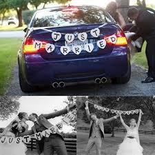 זה עתה נישא גבתון קישוט מסיבת חתונה באנר גרלנד חתונה בעבודת יד קישוט  lembrancinha de casamento hv3n ב-JUST MAR… | Wedding car, Just married car,  Car decorations diy