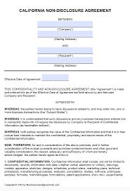 Simple Nda Template Free California Non Disclosure Agreement Nda Template