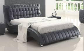 Modern Leather Bedroom Sets Tufted Black Or White Leather Modern Platform Bed On Chrome Legs