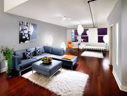 blue sectional sofa and modern living room furniture decorating
