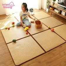 infant shining rattan play mat foldable 1cm thickness baby climbing mat 130x195cm large rug living room