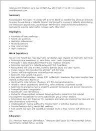 Resume Templates: Psychiatric Technician