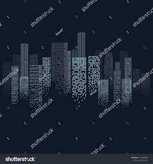 Modern Digital Design Cityscape Outline In Modern Digital Design Isolated On Blue