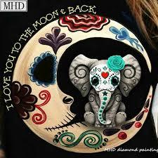 Full square diy 5d <b>diamond</b> painting <b>skull moon</b> elephant icon new ...