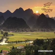 mountains gr fields scenic good morning wish