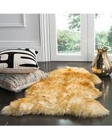 Safavieh Sheepskin Collection SHS121K Genuine Pelt Champagne And Copper Brown Premium Shag Rug 2