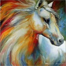 2018 new hand painted horse oil painting abstract white horse canvas painted for wall decoration from chinaart2016 28 15 dhgate com