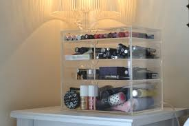 four levels of transpa makeup storage with box shaped and the top drawer for storing lipstick