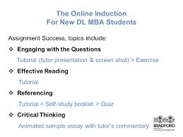 online induction and learning development for mba distance  6 the