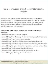 Construction Project Coordinator Resume Kantosanpo Com