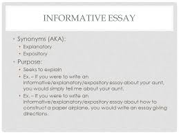 th english lit comp informative essay compare contrast ppt  informative essay synonyms aka explanatory expository purpose seeks to explain ex