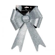 Kunststoffschleife Mit Glitter Silber 20x30 Cm