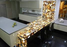 view in gallery backlit brown agate kitchen countertop