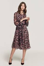 Beulah Designer Nandita Romantic Floral Chiffon Dress Business Casual In