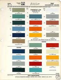 1962 Chevrolet Dodge Truck Paint Color Chart Ppg 62 Car
