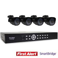 First Alert SmartBridge DVR Video Security System, 4-Channel and 4 Night Vision Cameras (DCA4405-520) | Store