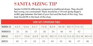 Sanita Clog Size Chart 2019