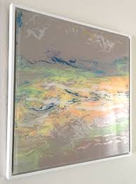 abstract shape original painting on plexiglass handmade contemporary art framed one of a kind