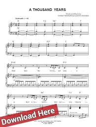 a thousand years piano sheet music christina perri a thousand years sheet music piano notes chords