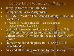 the second coming by william butler yeats ppt honors day 14 things fall apart wrap up from ldquocome thunderrdquo wrap