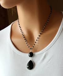 black onyx pendant necklace 925 sterling silver jet black black onyx rosary style