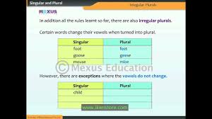Singular And Plural Verbs Chart Singular And Plural