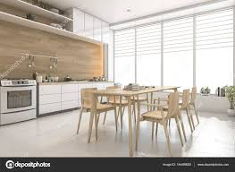 3d Rendering Weißen Skandinavischen Stil Holz Küche Und