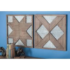 corrugated geometric wood and metal wall decor