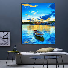 paint by numbers diy oil painting single boat canvas print wall art home