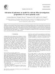 Polarity Chart Of Organic Solvents Pdf Solvation Of Polymers As Model For Solvent Effect