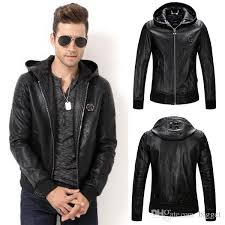 2019 hooded leather coat men 2017 new slim fit hood biker leather jacket tops man 78 metal patch from bigget 91 38 dhgate com