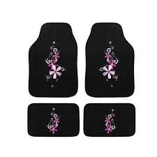 automotive 4 piece daisy embroidered floor mat set free on orders for dragonfly seat covers for cars