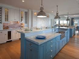 Kitchen Island Beadboard Cool White Coastal Kitchen Ceramic Subway Tile Backsplash Blue