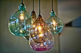 colored blown glass pendant lights