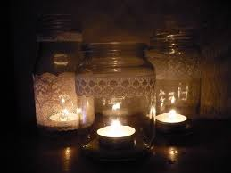 Decorating Candle Jars Lace around mason jarsgush Outdoor Party Reception Ideas 37