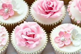 12 Pink Flowered Wedding Cake With Cupcakes Photo Pink Flower