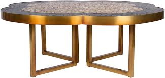 gold leaf and black glass mosaic quatrefoil coffee table on bronze base in good condition for